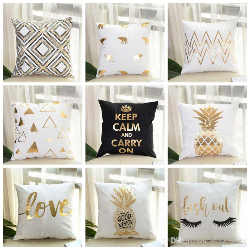 Bronzing Cushion Cover Gold Printed Decorative Pillow Covers Sofa Mesmerizing Black And Gold Decorative Pillows