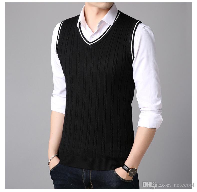 23018c9b8598 2019 V Neck Sweater Vest Men Solid Color Pullover Sweater Vest Men  Sleeveless Mens Knitted Vests 2018 Male Clothes Korean Version For Men Hot  From Netecool