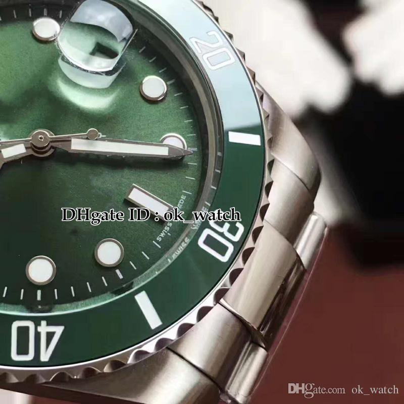 Высокое качество 40 мм Зеленый циферблат Керамическая рамка 116610LV 116610 Автоматические мужские часы Asian 2813 Движение Гентские часы платье стальная рука
