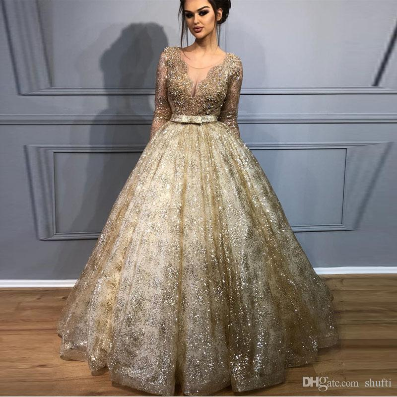 Sheer Neck Ball Gown 2018 Prom Dresses Gold Lace Heavy Beading ...