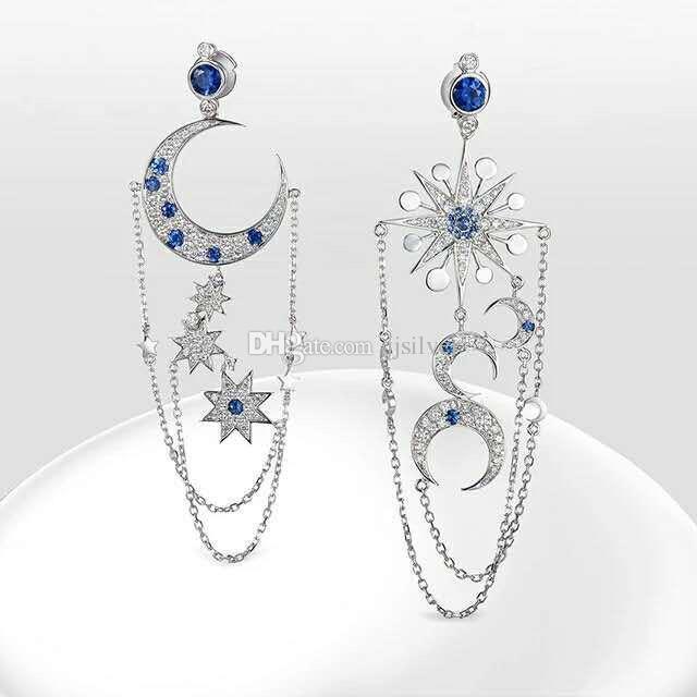 e099f25a3 925 Sterling Silver Vintage Asymmetrical Women's Star Sun Moon Charm Cubic  Zirconia Long Dangle Drop Earrings