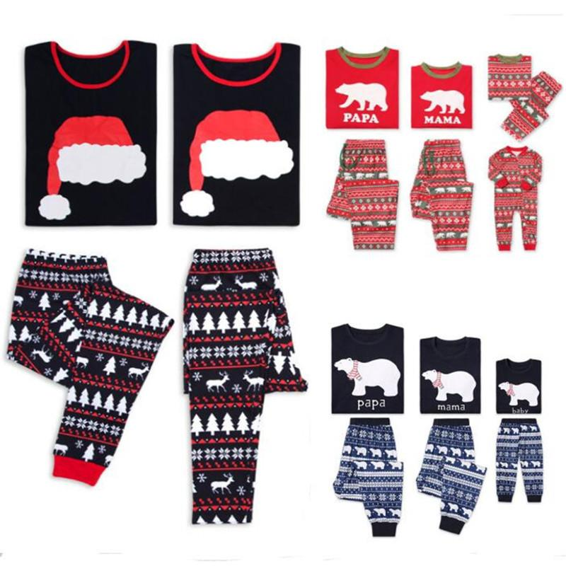 Parent-Child Christmas Pajamas Set Family Sleepwear Outfit Xmas Tree Elk  Snowflakes Bear Print Nightwear Autumn Bedgown Sleep Homewear Set