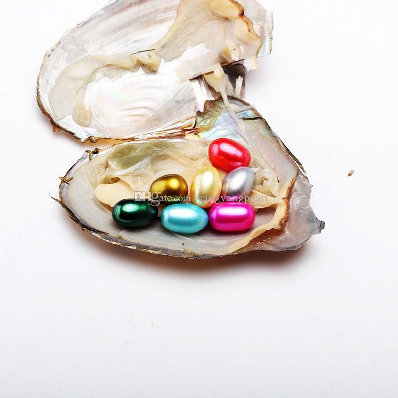 6-8 мм 7 Овальный рис жемчуг в пресноводной устрицы оболочки материалы для окрашивания ювелирных изделий как Тайна фестиваль подарок с вакуумной пакет Бесплатная доставка