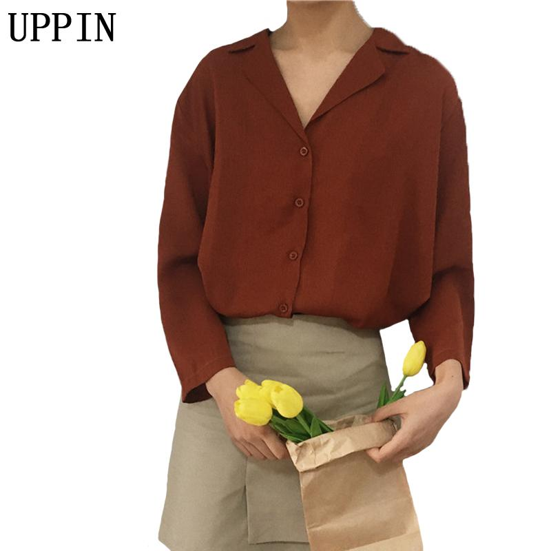 UPPIN 2017 spring New Pure Color Long Sleeve Women Blouses orange Blue Female Shirts Ladies Casual Shirt Female One Size