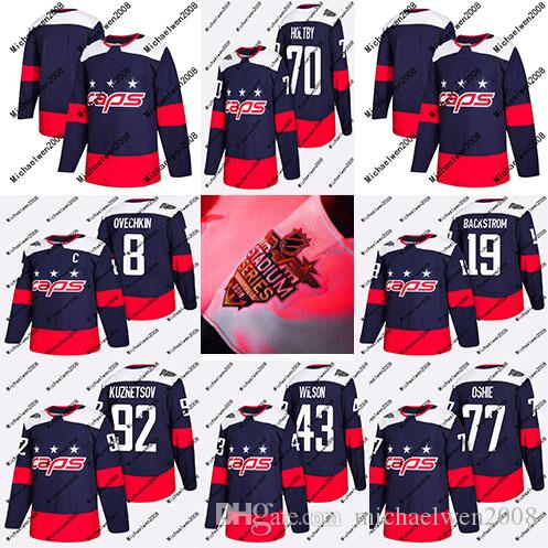 2019 Youth 2018 Stadium Series Jersey 8 Alex Ovechkin 19 Nicklas Backstrom  77 T.J. Oshie 92 Evgeny Kuznetsov 70 Braden Holtby Hockey Jerseys From ... bec70aecf