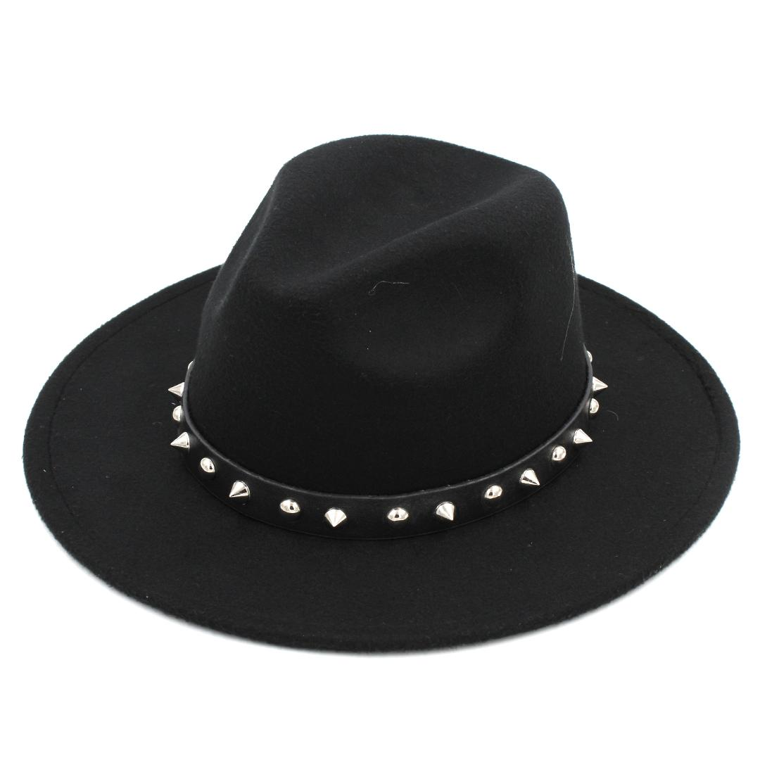 Fashion Men Women Wool Blend Panama Hat Derby Cap Outdoor Wide Brim  Sombrero Godfather Cap Jazz Hat Leather Band With Rivet Winter Hats Hats  For Men From ... 4216f870406