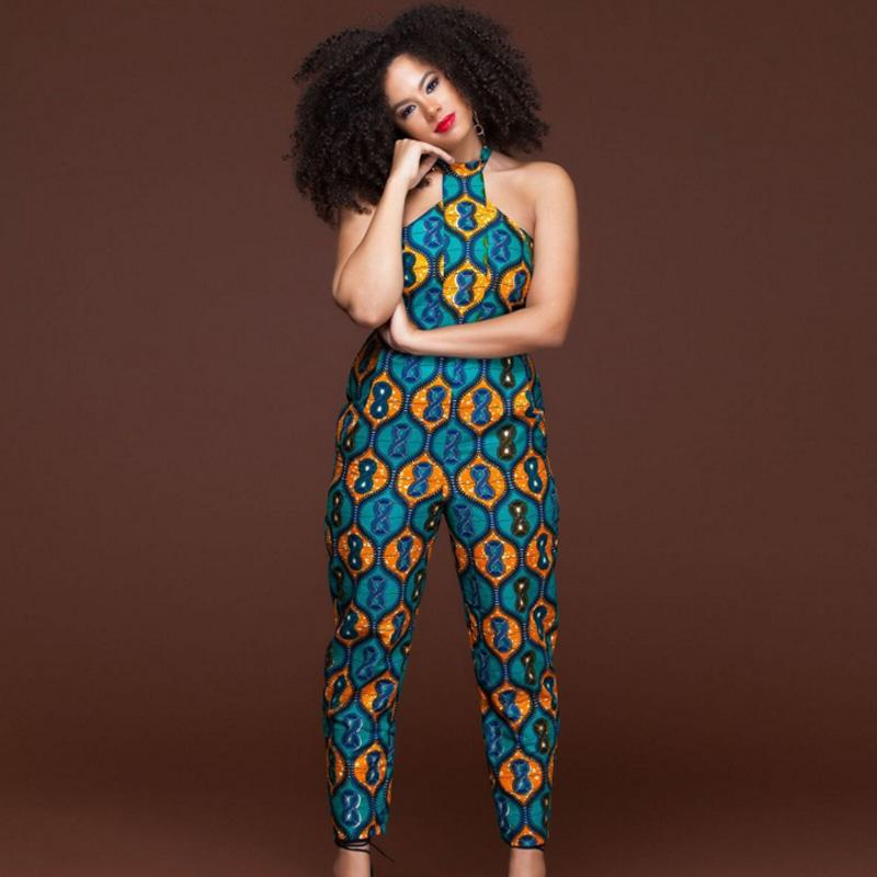 901d719a0286 2019 Plus Size Sleeveless Strappy Dashiki African Print Jumpsuit Women  Romper 2018 Summer Halter Sexy Off Shoulder Long Pant Outfits From Lvyou09