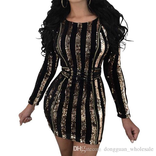 50e4c3427a Sexy Gold Sequined Bodycon Dress Womens Long Sleeve Round Neck Waistband  Lace Up Party Club Wear Dresses Vestidos Plus Size