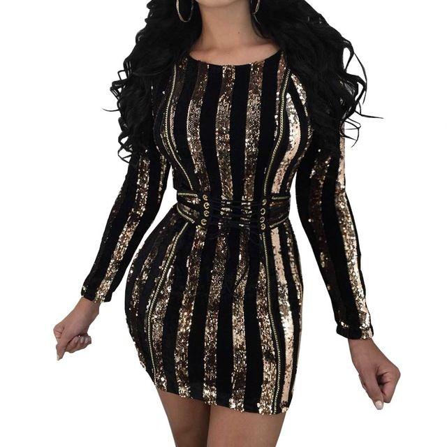 544b68b5bd9cd Acheter Sexy Or Paillettes Moulante Robe Femmes À Manches Longues Col Rond  Ceinture Lace Up Party Club Porter Robes Vestidos Plus La Taille De  21.71  Du ...