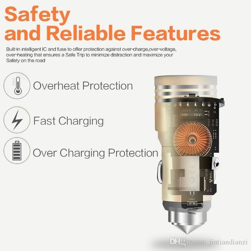 JT due porte USB Car Charger 2A lega di alluminio materiale reale del martello di sicurezza del metallo di disegno Smartphone Tablet PC smart phone