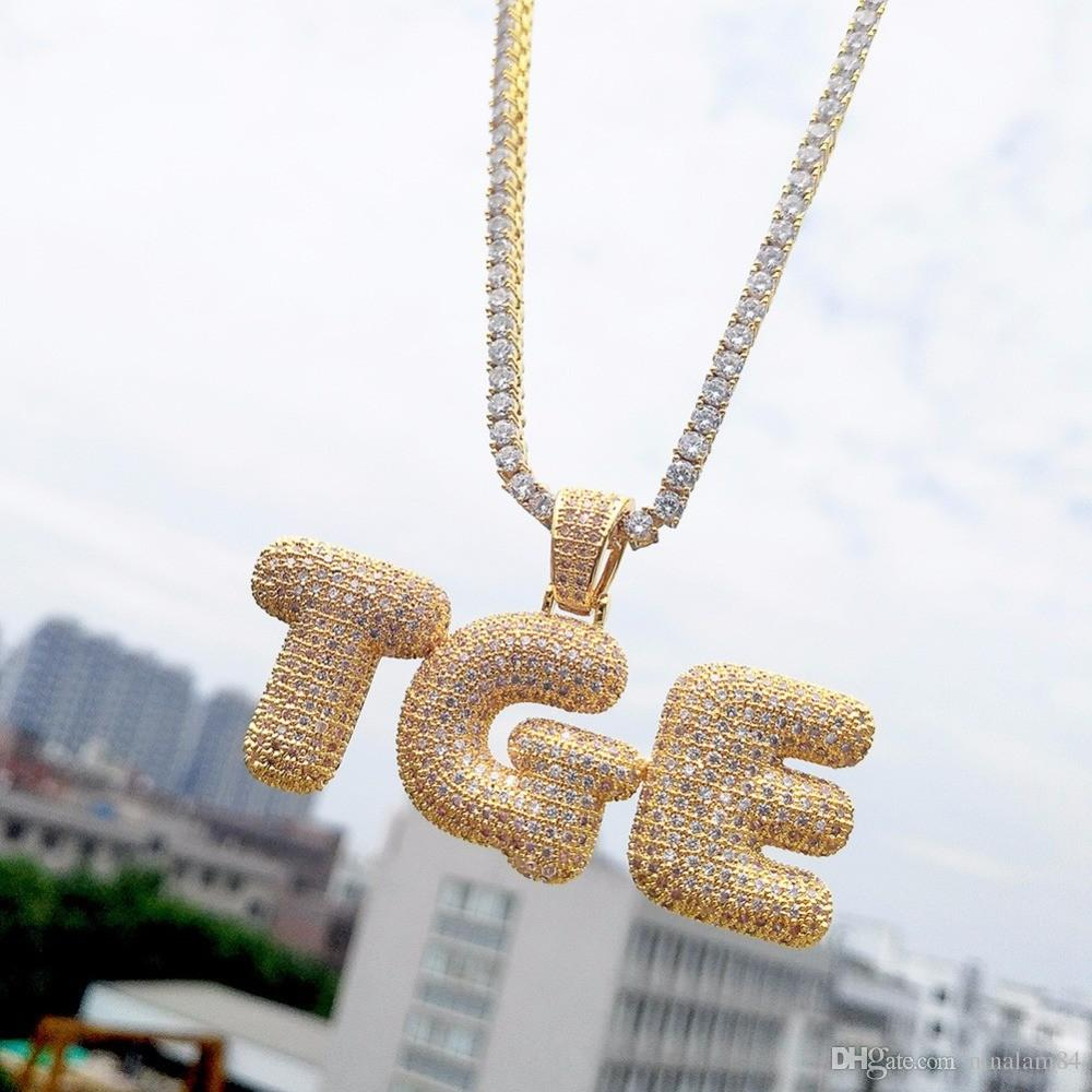 A-Z nome personalizzato bolla lettere collane ciondolo fascino oro argento oro rosa colore cubic zircone corda catena hip hop gioielli regali