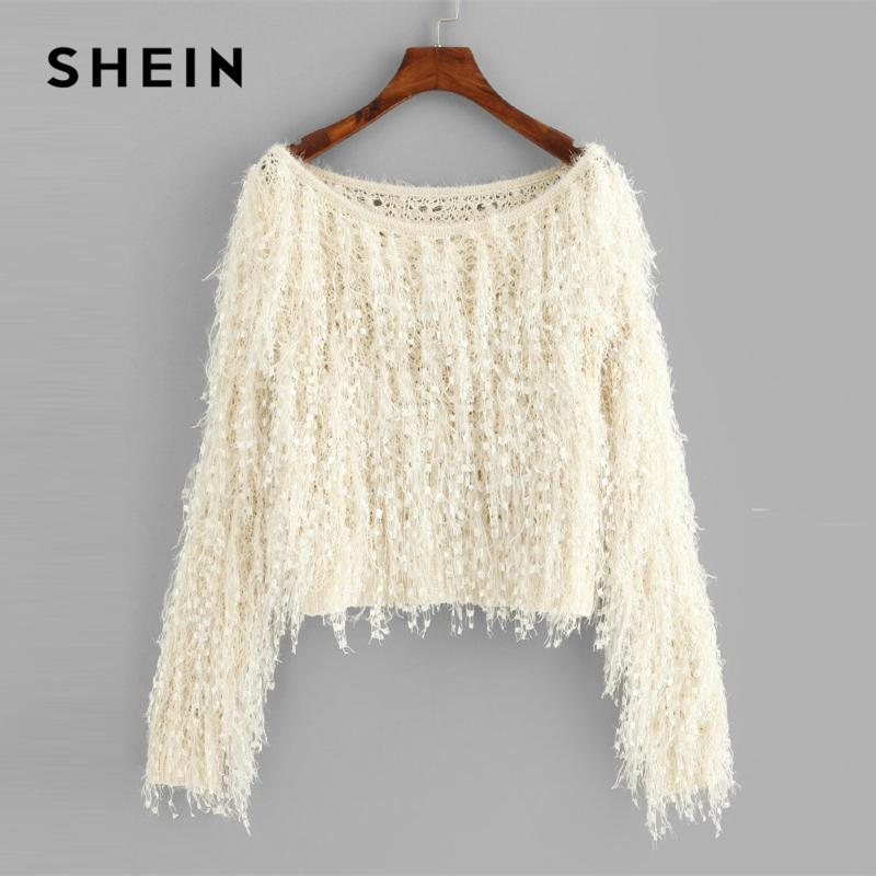 2d1615398a08ac 2019 SHEIN Apricot Loose Knit Fuzzy Fringe Sweater Casual Elegant Boat Neck  Long Sleeve Crop Pullovers Women Plain Autumn Sweaters S18100902 From  Xingyan01