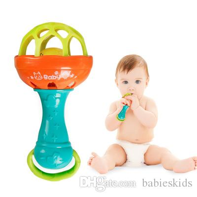 New Baby Toys Rattles Develop Baby Intelligence Grasping Gums Plastic Hand Bell Rattle Teeth Glue Learning Toys Baby Gifts