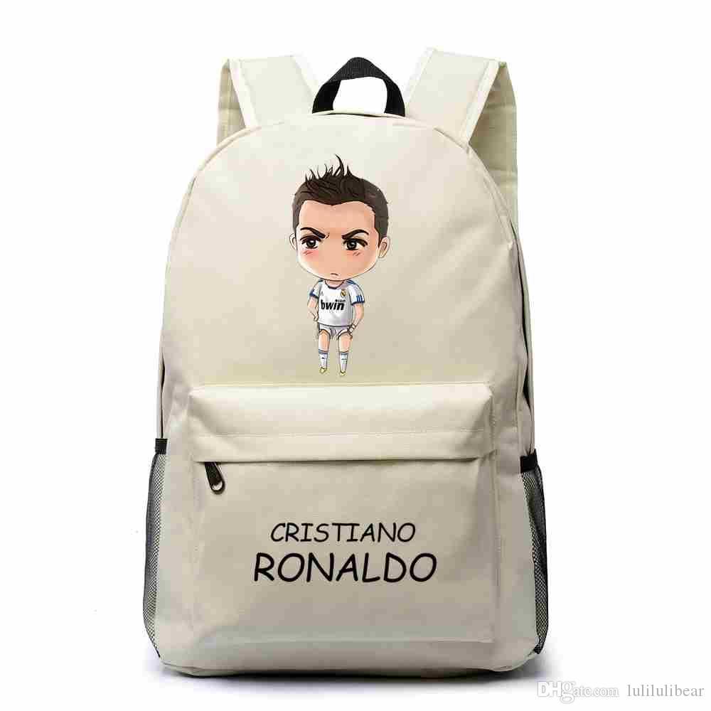 الكرتون كريستيانو رونالدو قماش ظهره بوي فتاة كرة القدم حقائب مدرسية للمراهقين عارضة rucksack mochila اجتماعيون