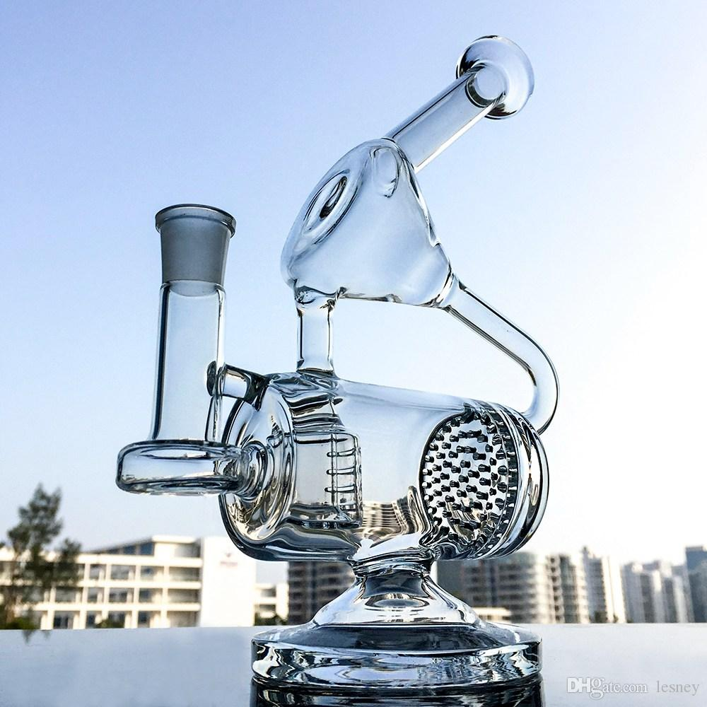 Unique Glass Bong Barrel Perc Water Pipe Chamber Recycler Bongs Percolator Dab Rig Complicated Recycler Bongs WP143