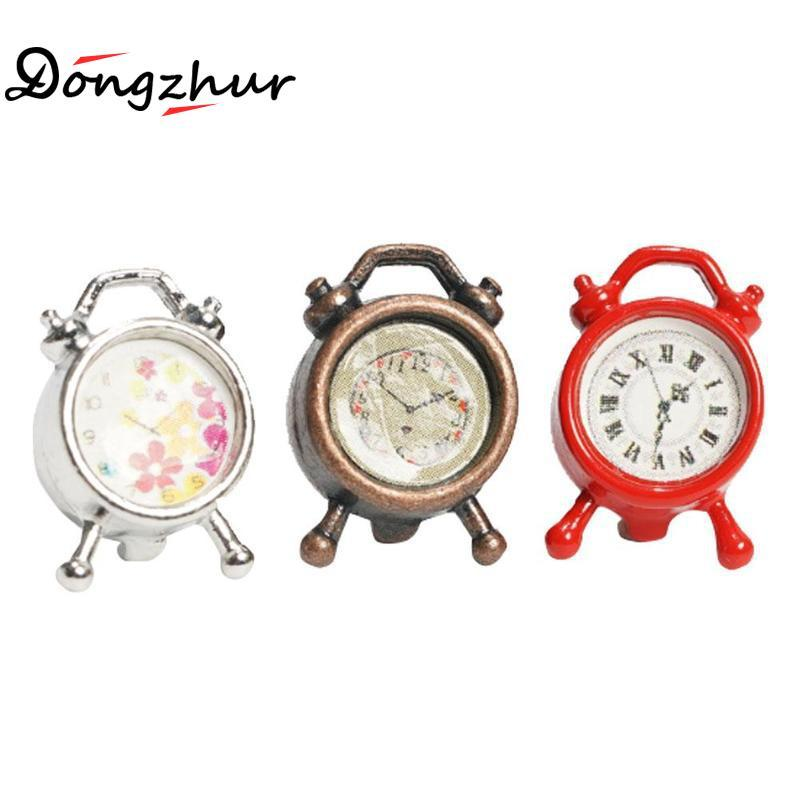 inexpensive dollhouse furniture. Wholesale Dongzhur Dollhouse Miniature 1:12 Accessories Red Silver Bronze Clock Doll House Mini Living Metal Retro Alarm Inexpensive Furniture