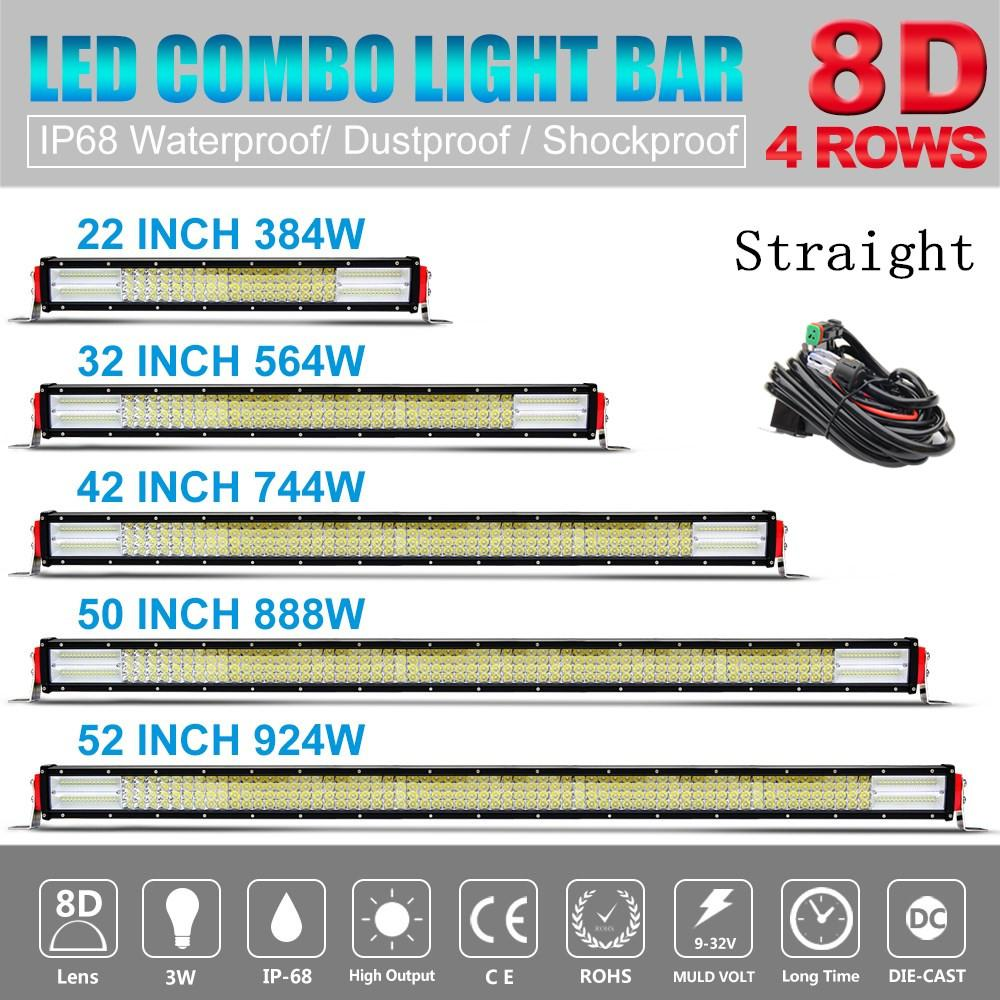 8d Led Light Bar 22 32 42 50 52 Inch 4 Row Offroad Combo Sale 10pcs Universal Off Road Jeep Wiring Harness Kit Work 12v For Auto Truck Atv Uaz 4x4 Lada Quad
