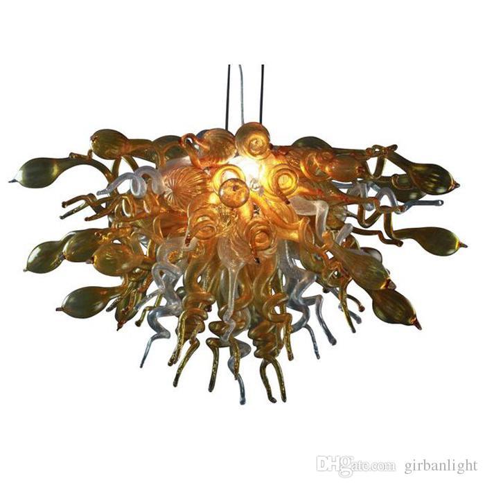 Lámpara soplada a mano personalizada Chandeliers LED LED Bulbos Ámbar vidrio Arte moderno Italia Diseñado araña para la decoración del hogar