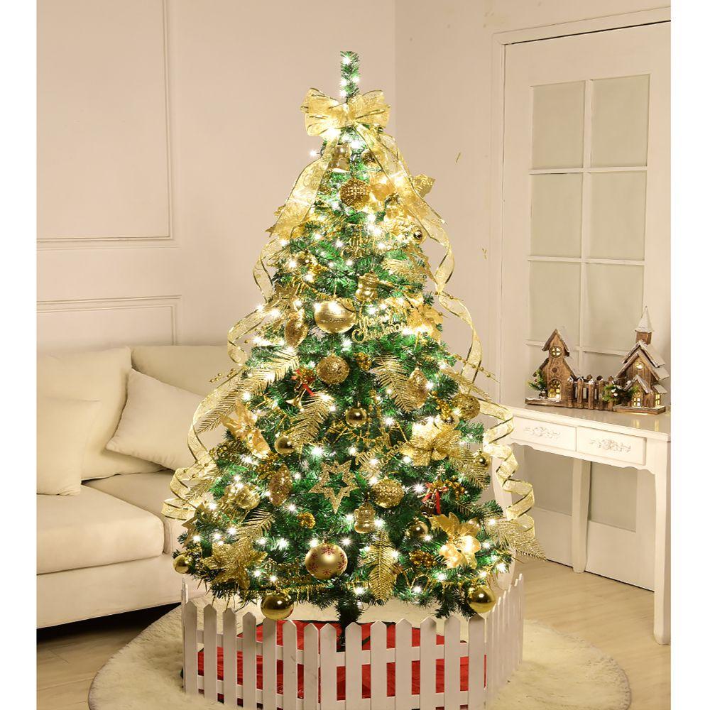 Decorazioni Natalizie Dorate.1 2m Albero Di Natale Decorazione Del Partito Decorativo Decorazione Dorata D Oro Palla Di Natale Ornament Ribbon Flower