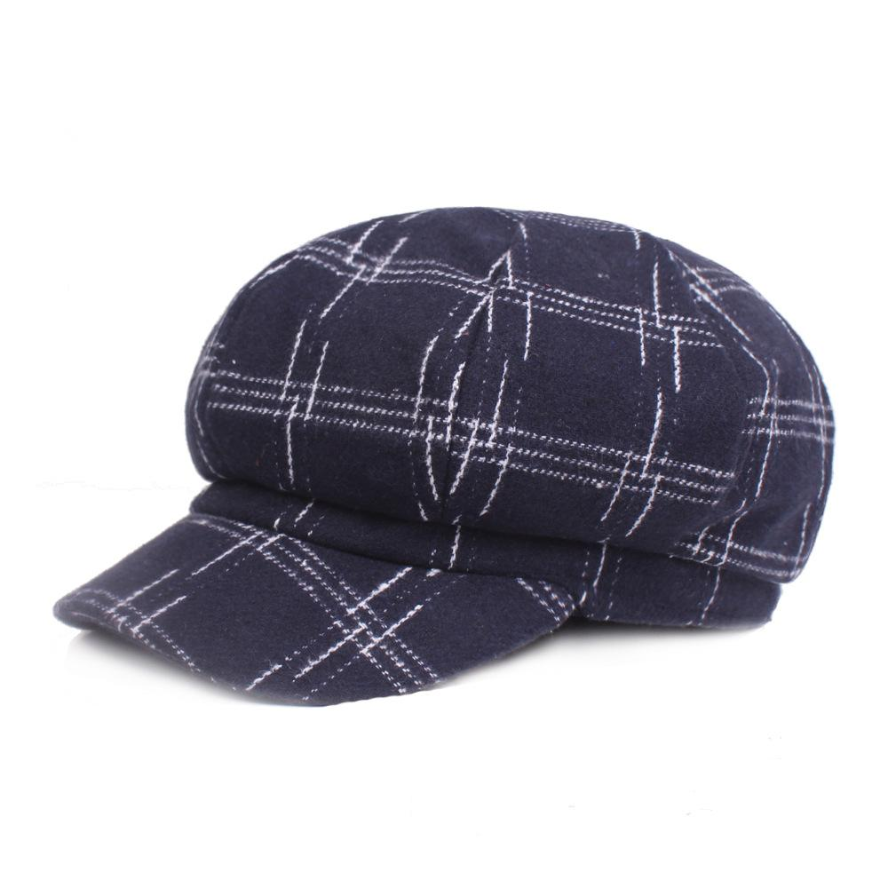 feb338356ff Woolen Octagonal Cap Men And Women Autumn Winter Beret Winter Hat ...