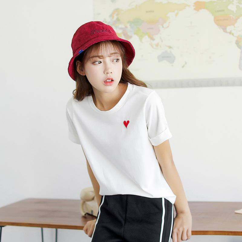 dd83e16118d Amo She Sweet Heart Embroidery T Shirt Solid Color Tee Summer Women Casual  O Neck Short Sleeve White Grey Basic Tees Tshirt Tops Funky T Shirts Cool T  Shirt ...