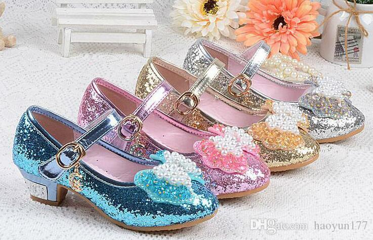 Spring Summer Girl High Heels Crystal Princess Party Children Shoes Pearl  Leatherette Footwear For Girl Sandal Pink Silver Blue Kids Sport Shoes  Childrens ... e002c6b35085