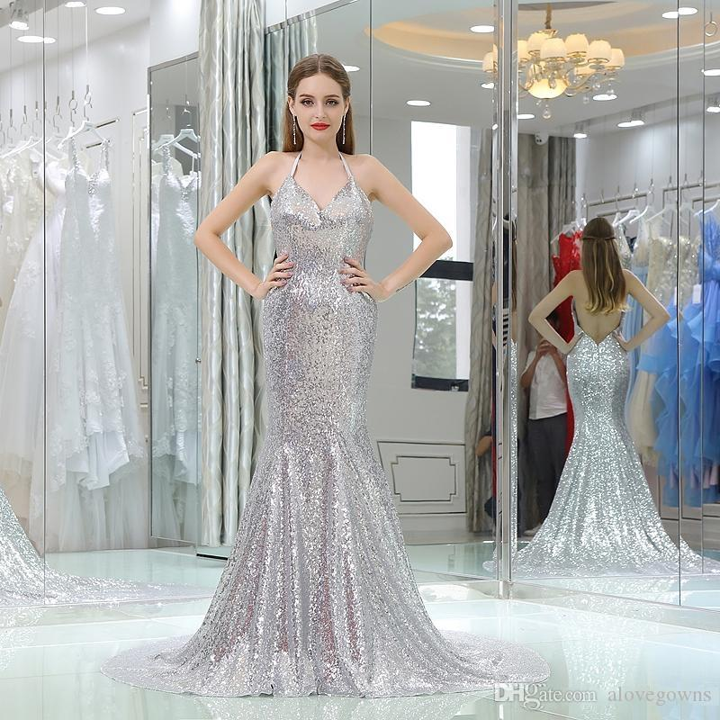 2018 Silver Sparkling Evening Dress Suspenders Hanging Neck V-Neck Sleeveless Sexy Open Back Mermaid Prom Dress Sequins Dress Pageant