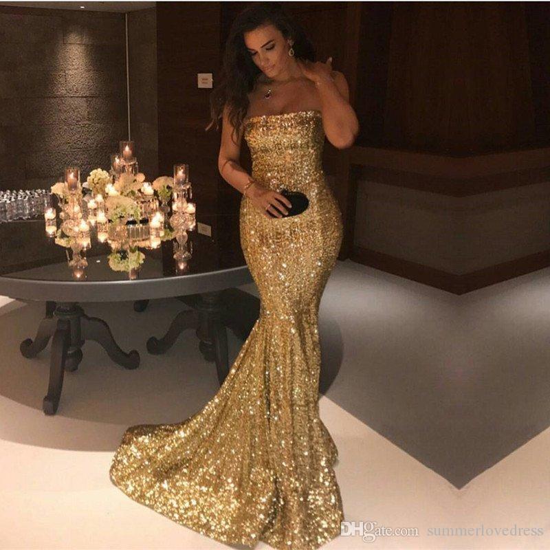 Golden Strapless Sequined Mermaid Long Prom Dresses 2018 Sleeveless Sparklng Backless Floor Length Formal Party Evening Dress