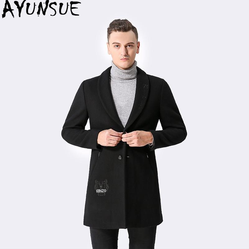 0d37fdcfb9e Acheter AYUNSUE Manteau Homme Noir Manteau De Laine Homme 2018 Automne  Hiver Vestes De Mode Coréen Hommes Vestes Manteau Abrigo Hombre KJ258 De   116.76 Du ...