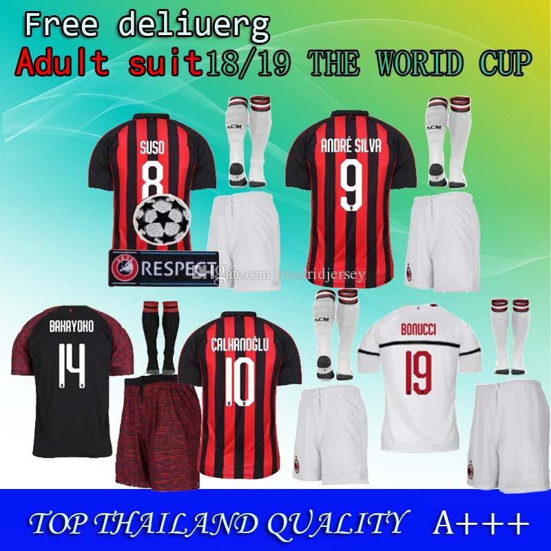 2019 18 19 HIGUAIN AC Milan Soccer Jerseys 3RD Shirt WHITE KESSIE ANDRE  SILVA CONTI Camisa 2018 2019 Milan CALHANOGLU KALINIC Cutrone Maillot From  ... a73895e7dec1f