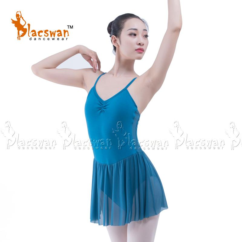dfbf1de3b Adult Camisole front Gather Skirted Leotard Mesh Skirt Attached ...
