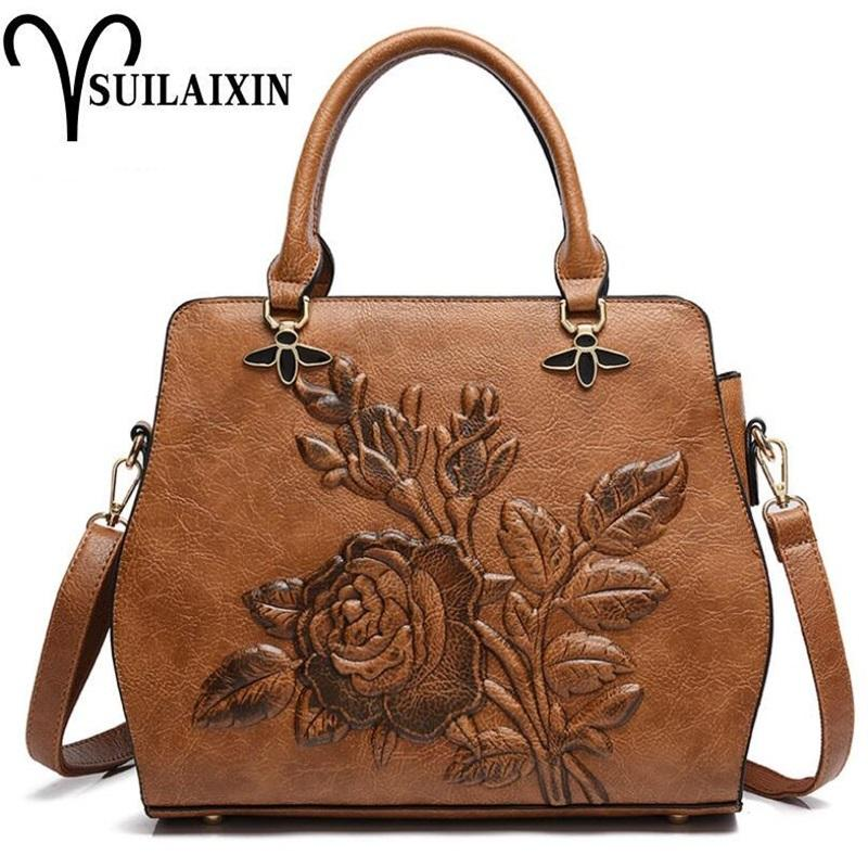 f58fbf52aef9 Women Designer Leather Hobo Bucket Bags Large Embroidery Embossing Printing  Retro Floral Handbag Luxury Tote Bag High Quality Hobo Handbags Italian  Leather ...