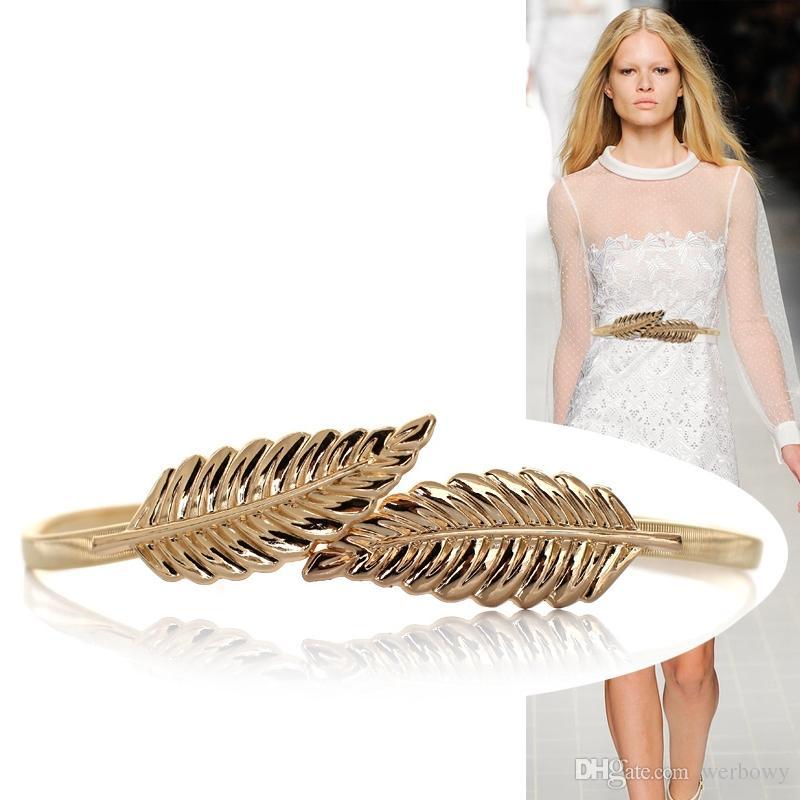 Compre Senhoras Liga Elástico Elástico Fino Cintura Cadeia Folha Fivela Senhoras Vestido Cinto Decoração Cintura Cadeia De Metal Sólida Folha De Cinto