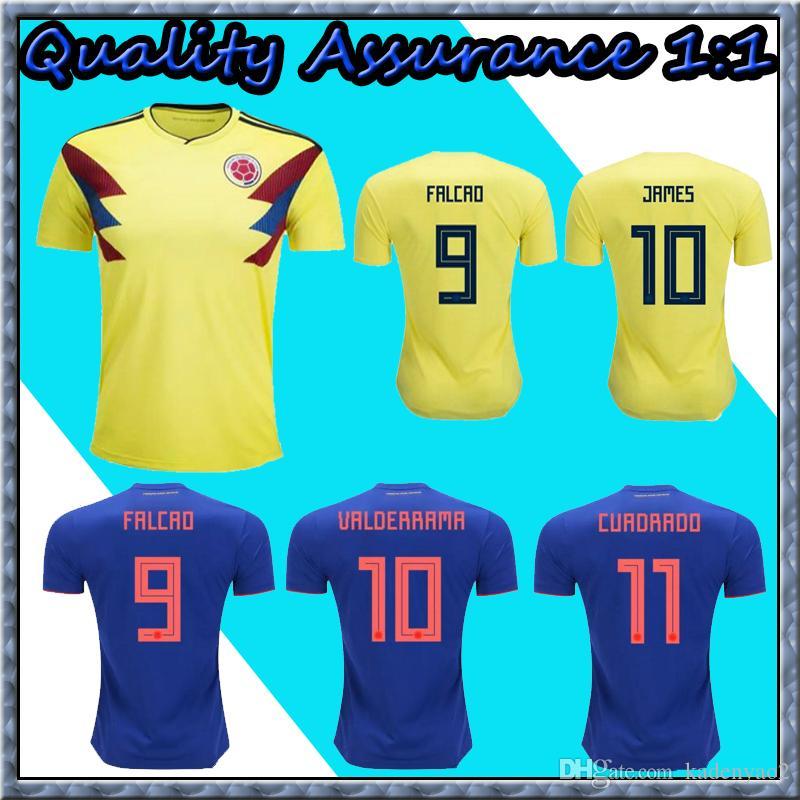 426eb1b4e 2018 Colombia Soccer Jerseys World Cup Colombia Away Blue Football Shirt  JAMES Rodriguez Camiseta BOCCA FALCAO CUADRADO Maillot De Foot Online with  ...