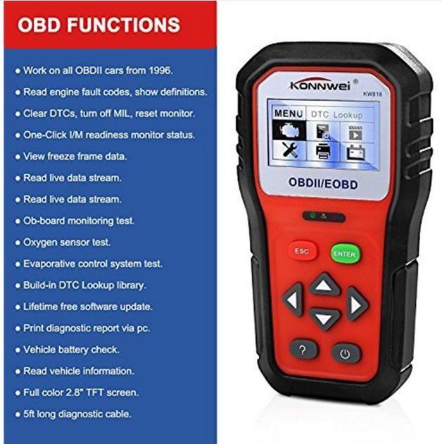 OBD2 Lectores de código de coche Scan Tools Diagnostic Scanner KW818 Pro Universal Tool