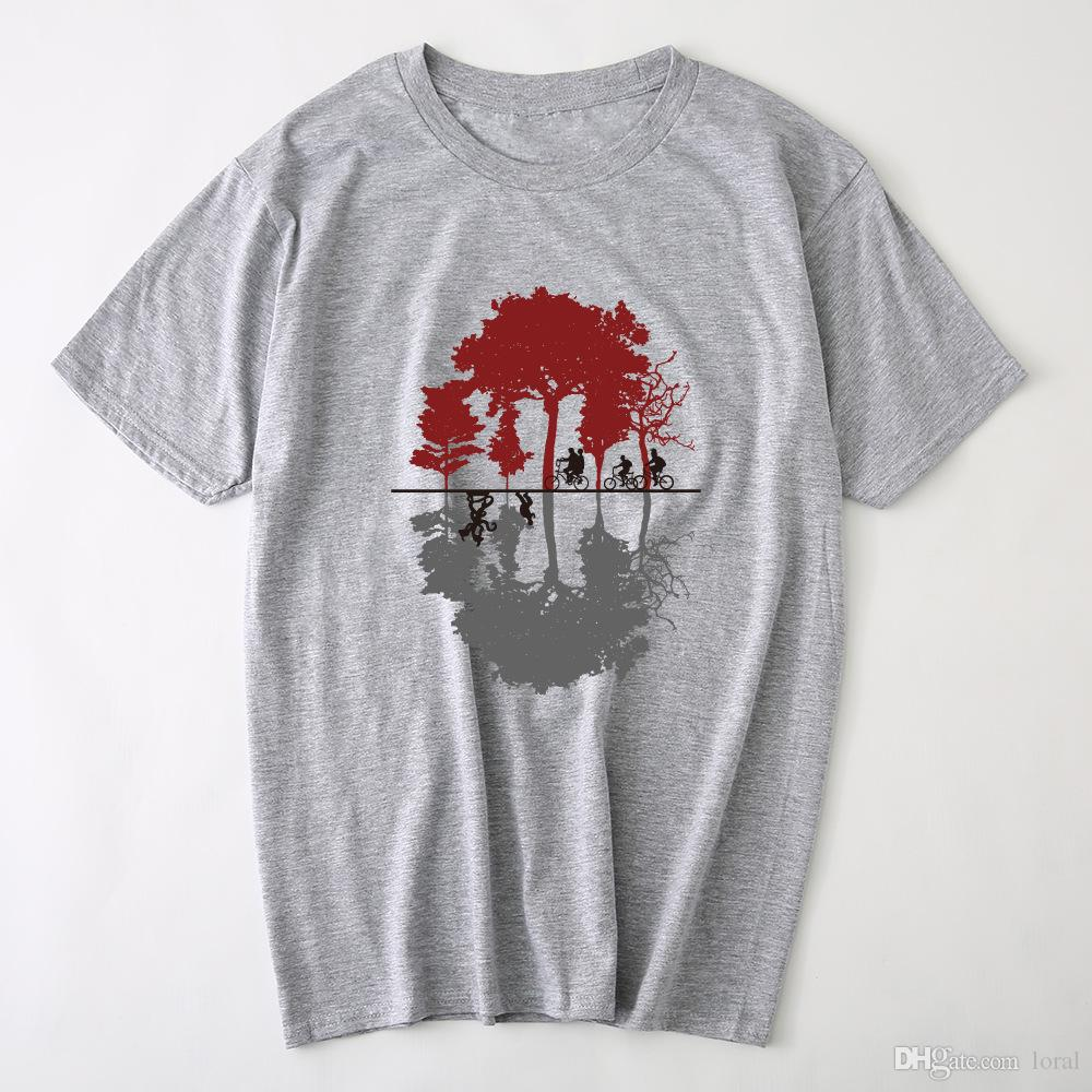 1b2317c7932e Men Clothing Tree And People Printed Casual Tshirts Summer Male Crew ...