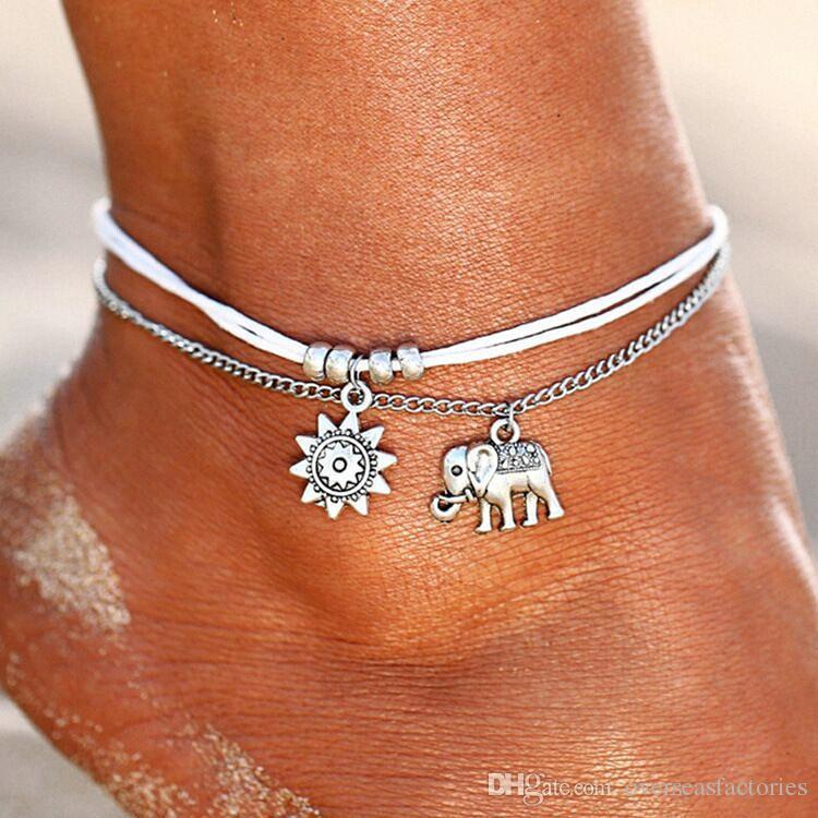 Vintage Star Elephant Anklets Bracelet Pour Les Femmes Boho Pendentif Double Couche Cheville Bohème Pied Bijoux Cadeau Usine En Gros