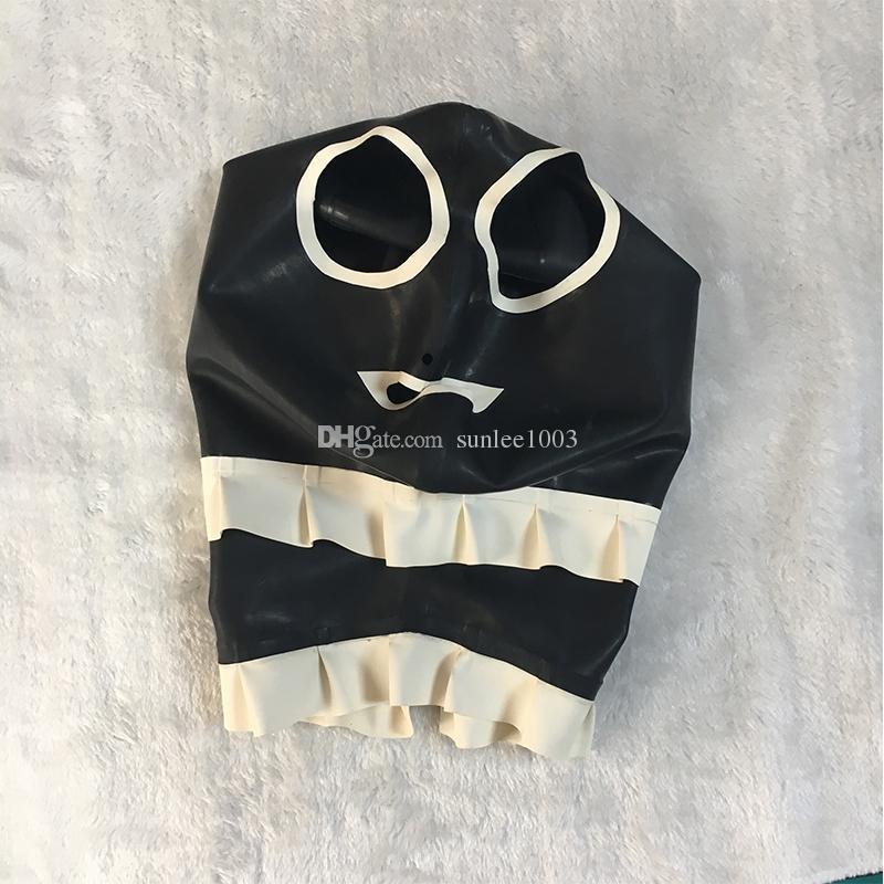 Vücut Stocking 2018 Sıcak Satış egzotik Sıcak Seksi Kadınlar Lateks Eklenmiş Yan Fırfırlı Davlumbazlar Kadın Açık Ağız Maskesi Monokrom