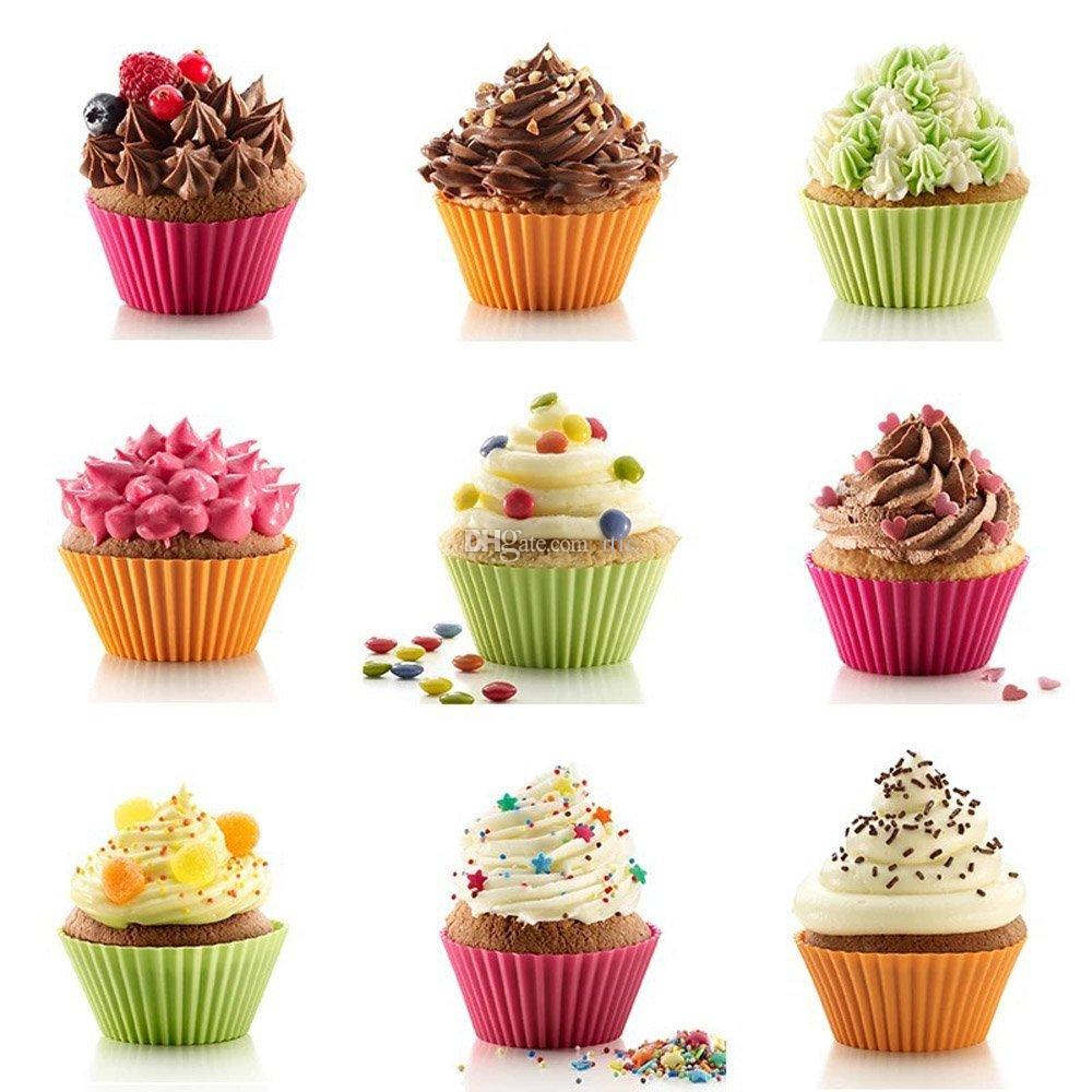 Muffin Baking Nonstick and Heat Resistant Reusable Silicone Cake Molds chocolate molds single cupcake holder baking tools