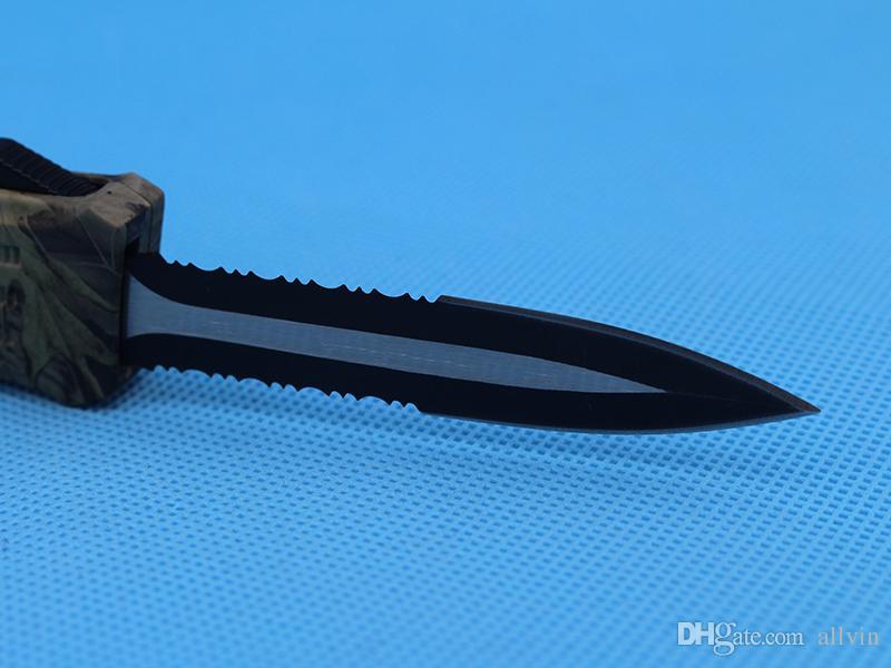 Allvin Brown Camo 8.2 Inch Medium 616 Automatic Tactical Knife 440C Double Edge Half Serration Blade EDC Pocket Knives Gear