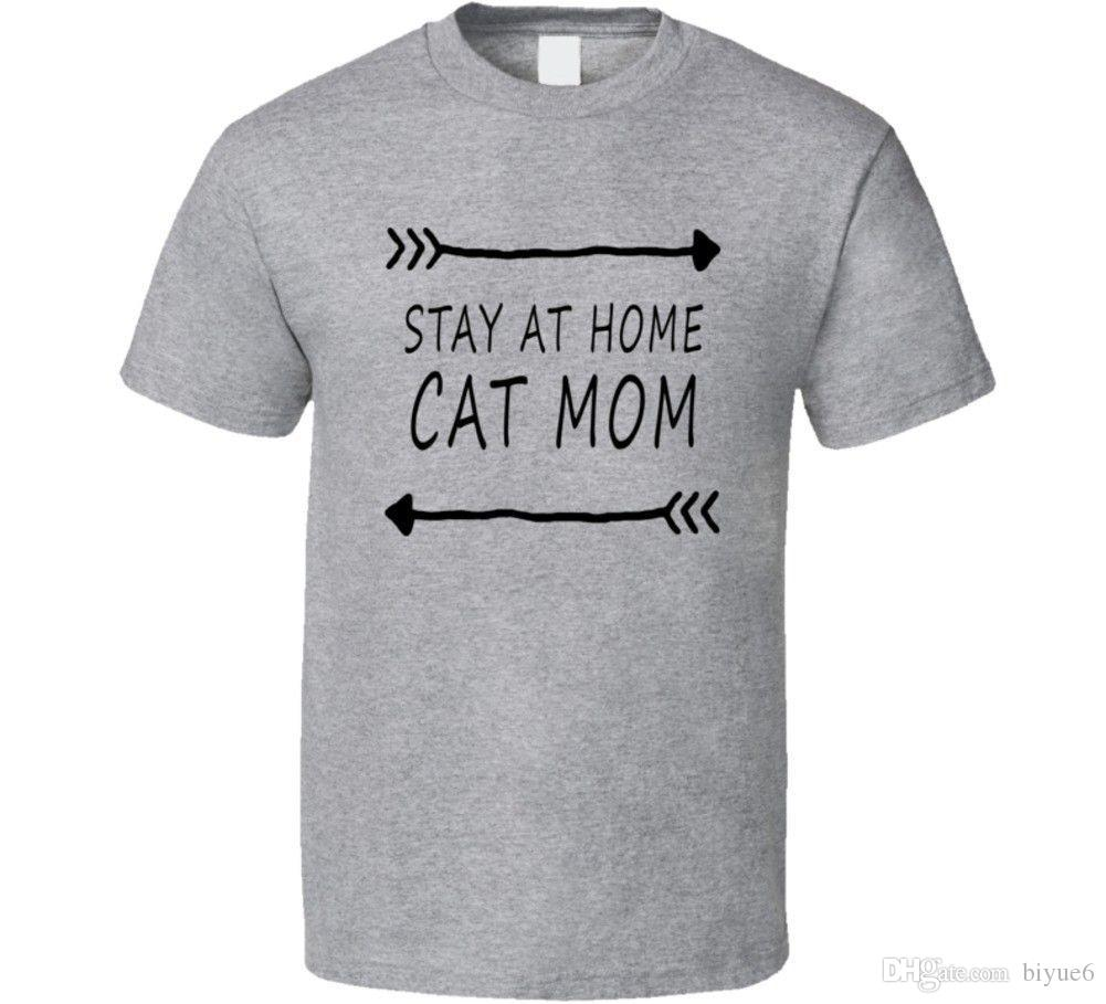 9d0f7feae64f15 Stay At Home Cat Mom Funny Pet T Shirt 2018 Summer New Brand T Shirt Men  Hip Hop Men T Shirt Casual Fitness Funny Rude T Shirts Trendy Mens T Shirts  From ...