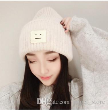 8761bd00d99 The New 2018 Square Smiley Labeling Wool Hat Autumn And Winter Female  Couple Models Pointy Hat Knitted Hat Male Tide Cap Shop Knitted Hat From  Angel store