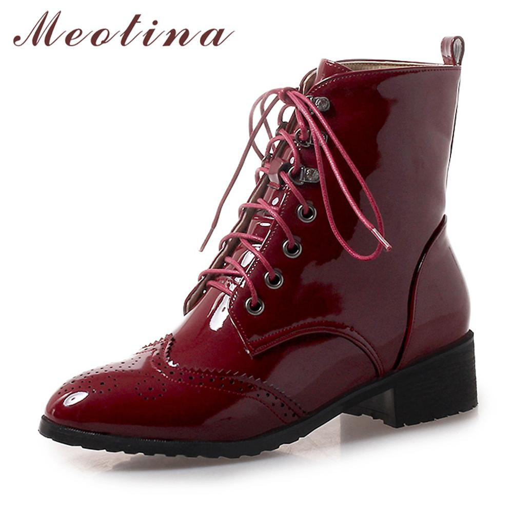 dff0b9c4299b8 Meotina Ankle Boots Women Shoes Lace Up Square Heel Martin Boots Patent  Leather Med Heel Short Female Winter Big Size 43 Black Combat Boots Chelsea  Boots ...