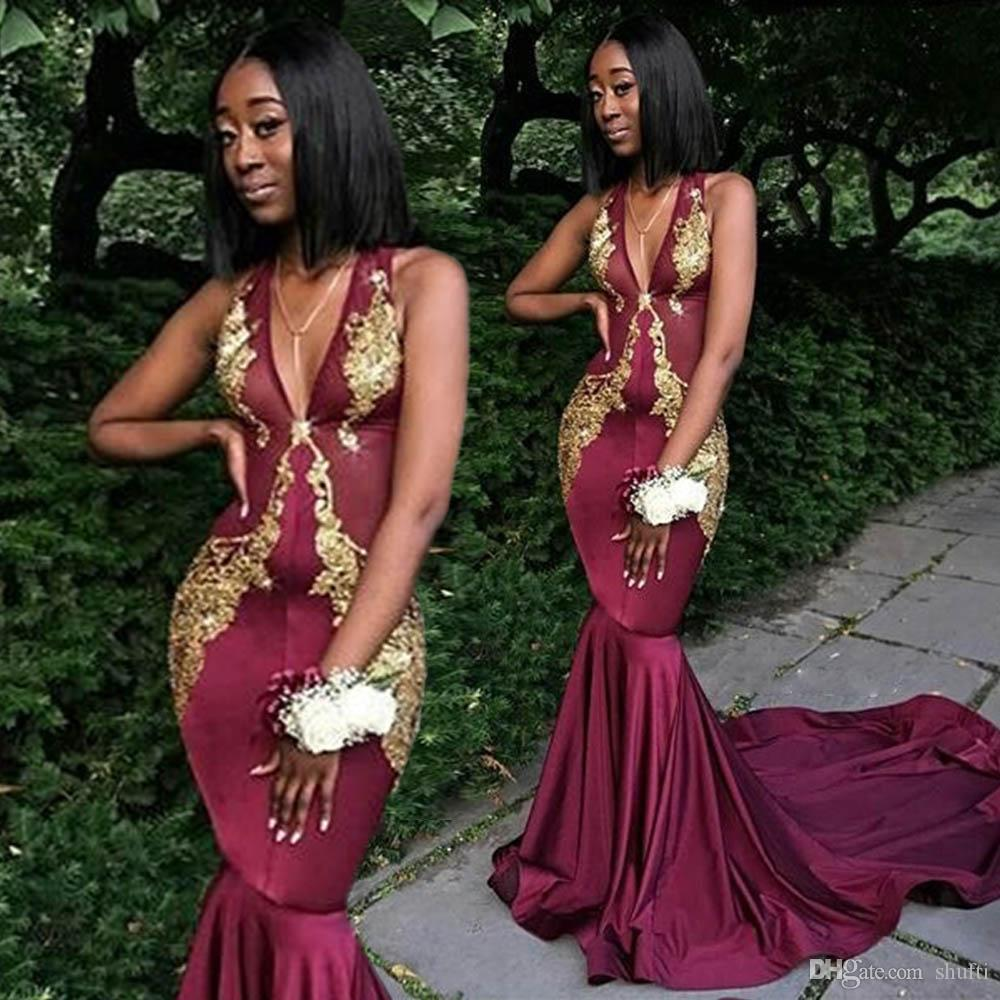 d71d1796c4d80 Deep V Neck Sleeveless Mermaid Prom Dresses Lace Applique Wine Red Evening Dresses  Long Vestidos De Fiesta Dubai African Fashion Court Train 50s Prom Dress ...