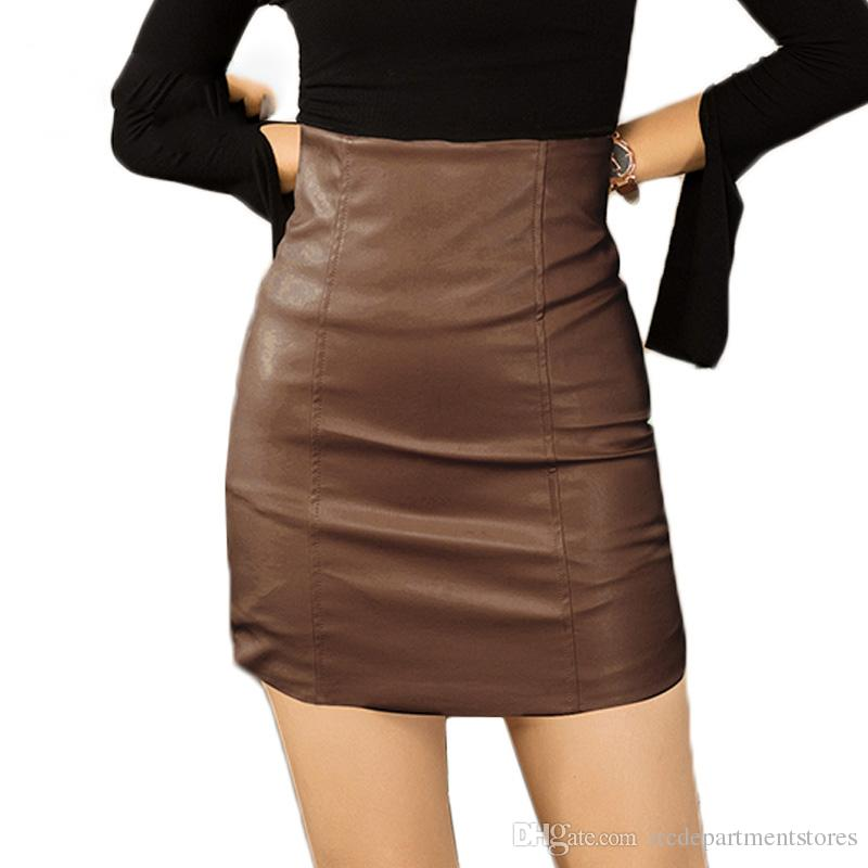 cf17a75e6a 2019 PU Leather Pencil Skirt For Women High Waist Vintage Autumn Winter  Tube Skirt Woman Vintage Faux Leather Mini Skirt Sexy From  Itcdepartmentstores, ...