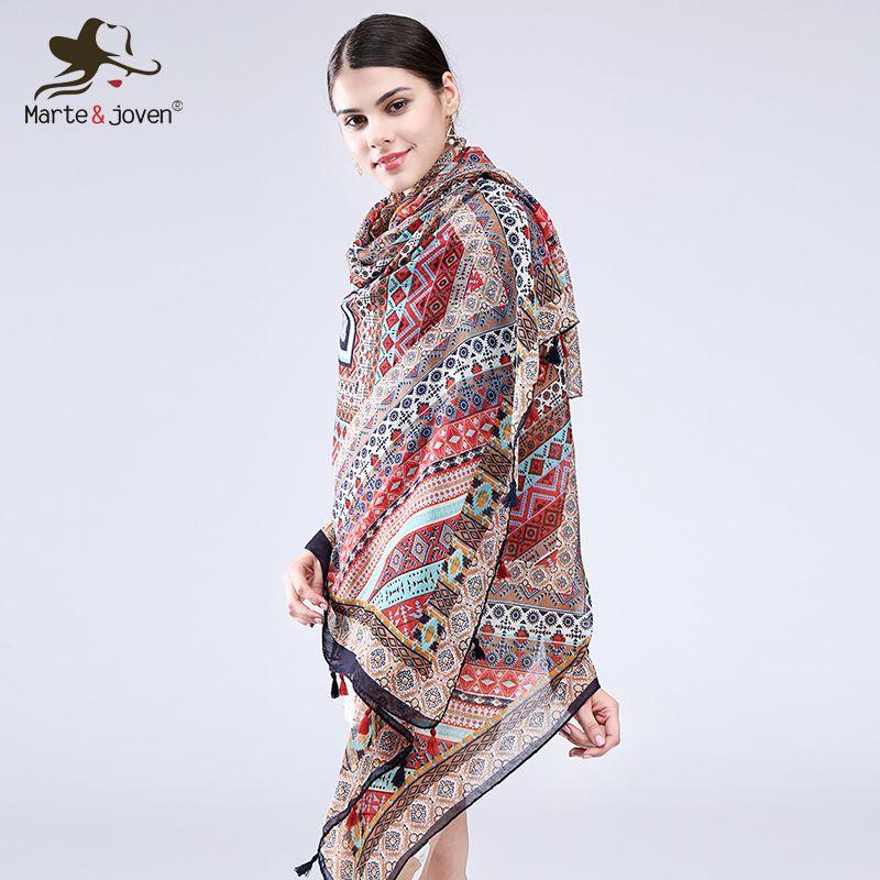 d7ea0eacdea11 Marte&Joven Geometric Print Ethnic Style Wrap And Scarf For Women Casual  Oversized Retro Pashmina Summer Beach Shawl Ladies S18101904 Pashmina  Scarves ...