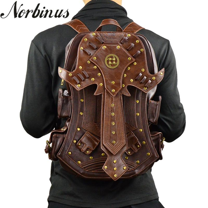 6855e0a2cf Norbinus Steampunk Men Backpack Gothic PU Leather Punk Bags Retro Rock Vintage  Rucksack Women Brown Detachable Wing Backpacks Cheap Backpacks Rolling ...