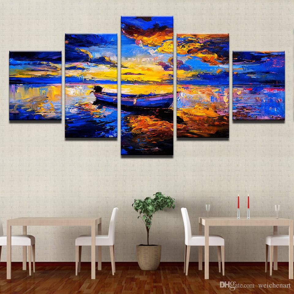Canvas HD Prints Pictures Living Room Home Decor Framework Abstract Ship Sea View Paintings Sunset Boat Poster Wall Art