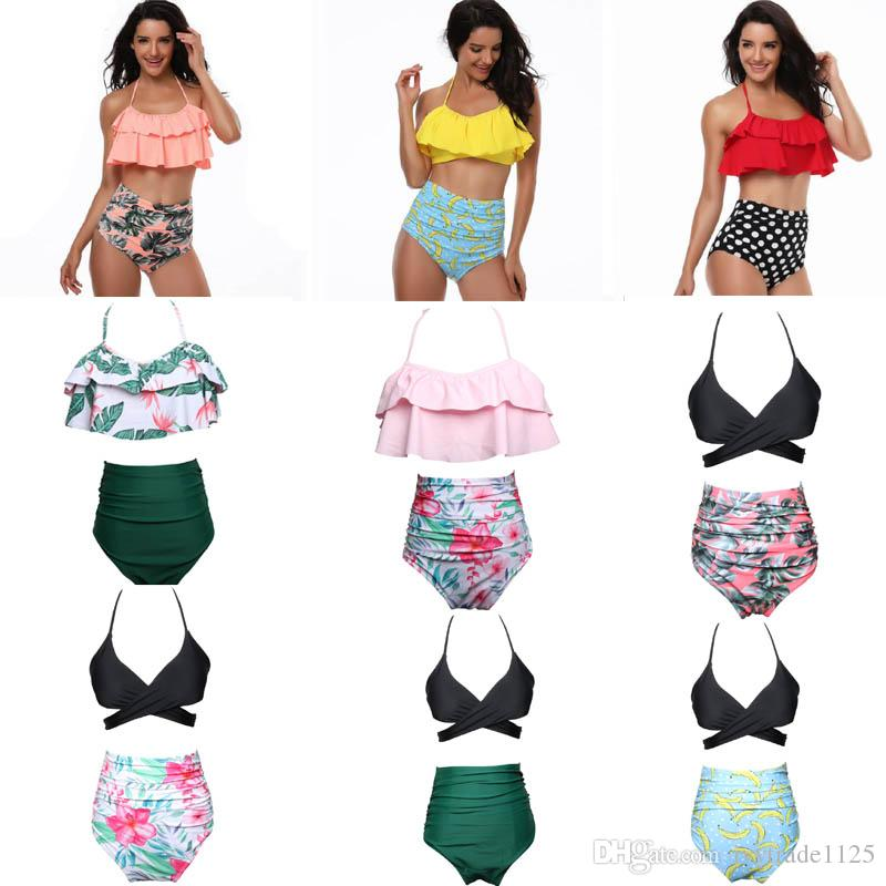15b6bb71ac82a 2019 Women BIKINI 9 Style Ruffles Design And Flower Polka Dots Print Summer  Beach Swimwear Bikini Lady Two Piece Sets Swimsuit Free Ship From  Ivytrade1125, ...
