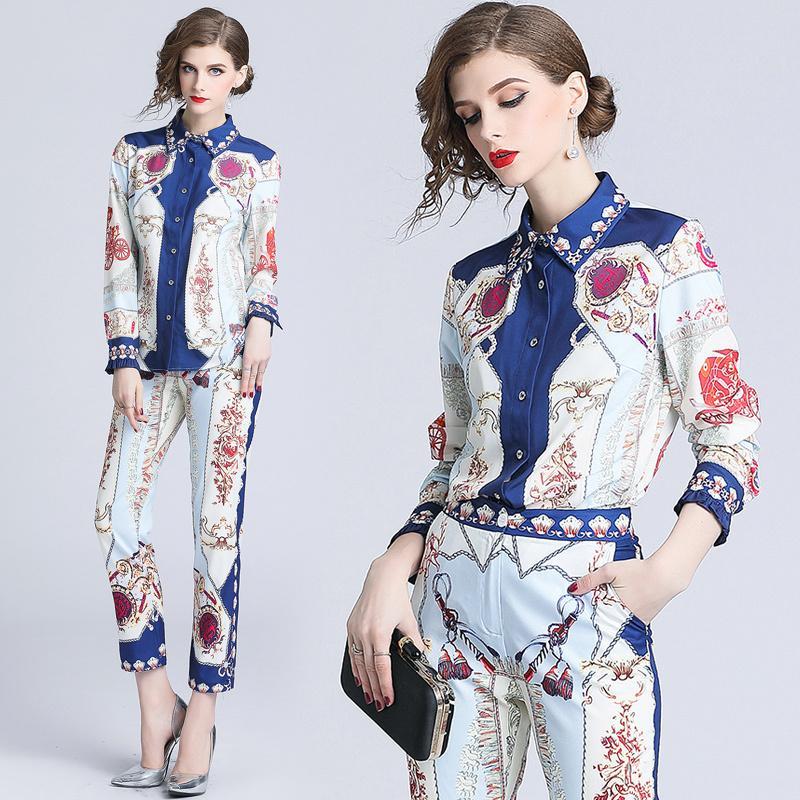 ca7c57a7e148a 2019 2018 Fall Runway Womens Set Retro Vintage Royal Print Collar ...